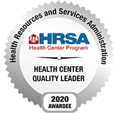 Circular badge for 2020 Awardees of Health Center Quality Leader from Health Resources and Services Administration