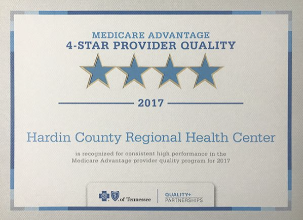 Certificate of 4-star provider quality to Hardin County Regional Health Center