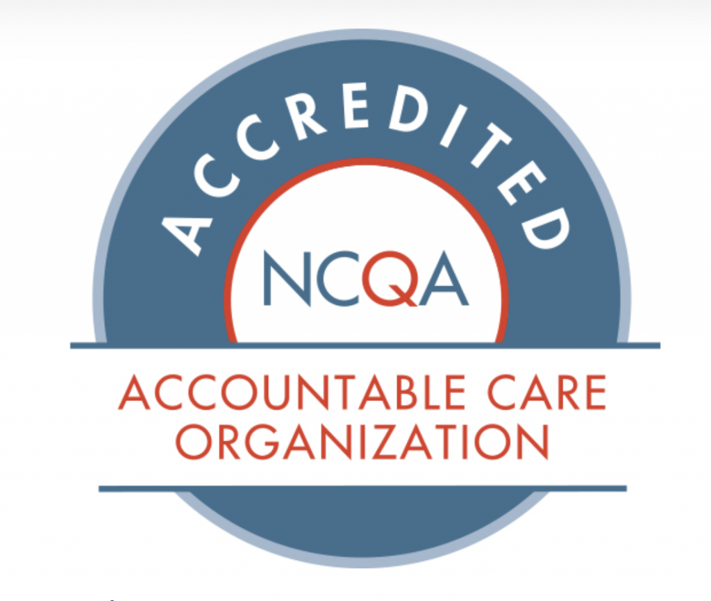 NCQA Accredited Accountable Care Organization blue circular logo with red and white text