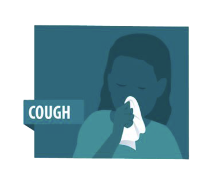 """Blue illustration of a woman holding a tissue to her mouth with the word """"cough"""" on the graphic."""