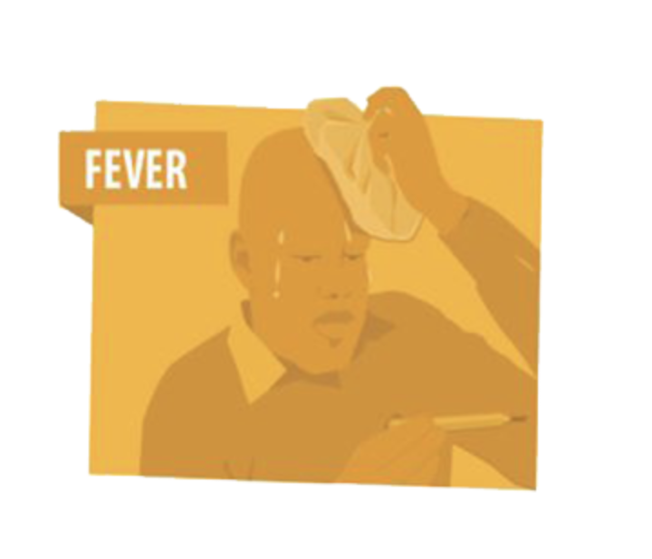 A yellow illustration of a man looking at a thermometer and holding an ice pack to his head to represent running a fever. The word fever on the graphic